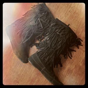 Lauren Conrad  Black Fringe Boots